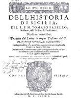 Front page of Tommaso Fazello book Le due deche dell'Historia di Sicilia dell R.P.M. Tomaso Fazello, Venetia 1574.