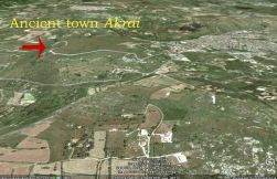 Location of ancient town. Map from googlemaps.com